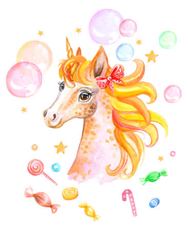 Cute dreaming romantic unicorn with soap bubbles and candy, watercolor illustration isolated on white background for celebration, birthday, baby shower, greeting cards, print, design, wallpaper. Archivio Fotografico