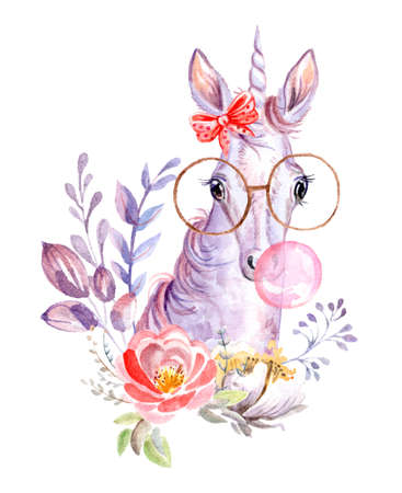 Cute dreaming unicorn in glasses with bubble gum and bow and flowers, watercolor illustration isolated on white for celebration, birthday, baby shower, greeting cards, print, design, wallpaper.