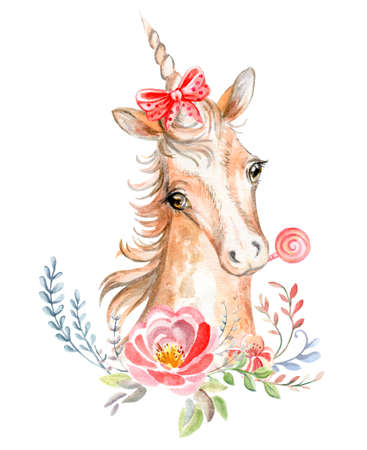 Cute dreaming romantic unicorn with flowers, candy and bow. Watercolor illustration isolated on white background for celebration, birthday, baby shower, greeting cards, print, design, wallpaper. Archivio Fotografico