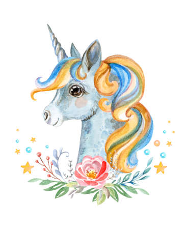 Cute romantic unicorn in profile with flowers and srars, watercolor illustration isolated on white background for celebration, birthday, baby shower, greeting cards, print, design, wallpaper.