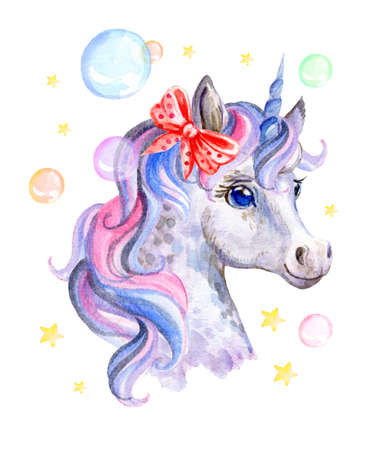 Cute dreaming romantic unicorn with soap bubbles and bow, watercolor illustration isolated on white background for celebration, birthday, baby shower, greeting cards, print, design, wallpaper.