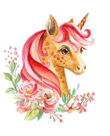 Cute beautiful unicorn with long mane and flowers, watercolor illustration isolated on white for celebration, birthday, baby shower, greeting cards, print, design, wallpaper. Stock illustration