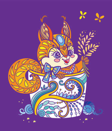 Colorful kawaii cute squirrel in a cup Ilustração