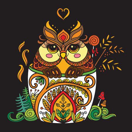 Colorful kawaii cute owl in a cup Ilustração
