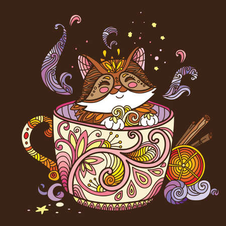 Colorful kawaii cute cat in a cup