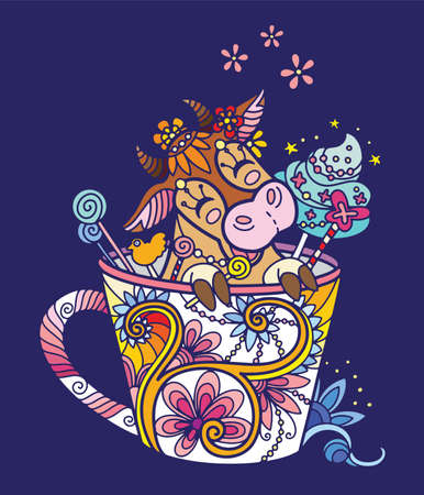 Cute kawaii cow in a cup. Adult antistress illustration with animal in tangle style isolated on blue background. Colorful vector illustration for print, design, T-shirt print, tattoo. Zendoodle. Ilustração