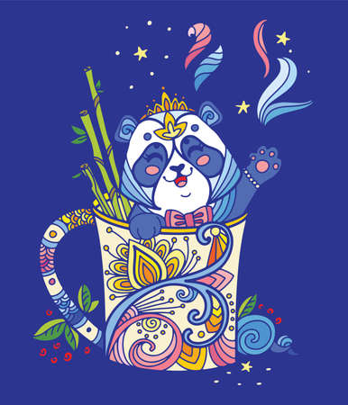 Cute kawaii panda in a cup. Adult antistress illustration with animal in tangle style isolated on blue background. Colorful vector illustration for print, design, T-shirt print, tattoo Ilustração