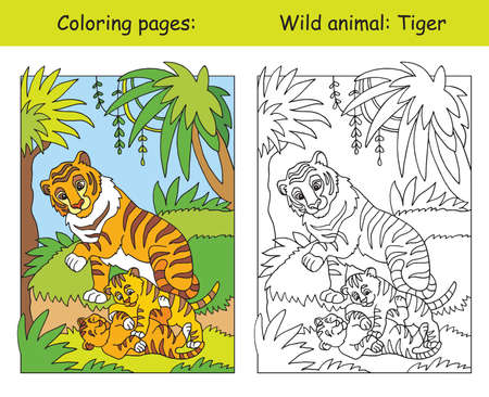 Vector coloring pages with cute tiger family in forest. Cartoon isolated colorful illustration. Coloring and colored image of tiger. For coloring book, design, preschool education, print and game.