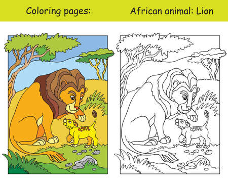 Vector coloring pages with cute lion family in african area. Cartoon isolated colorful illustration. Coloring and colored image of lion. For coloring book, design, preschool education, print and game.
