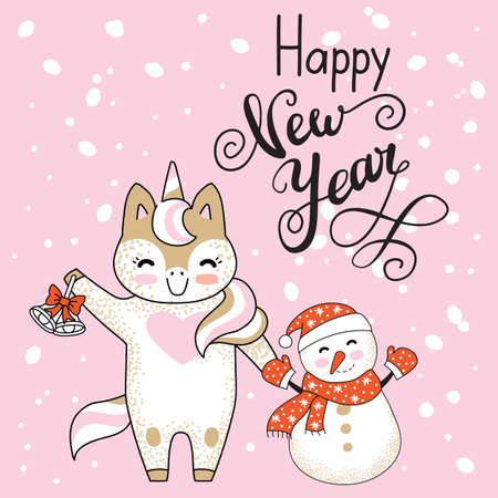 Christmas card congratulations cute unicorn and snowman