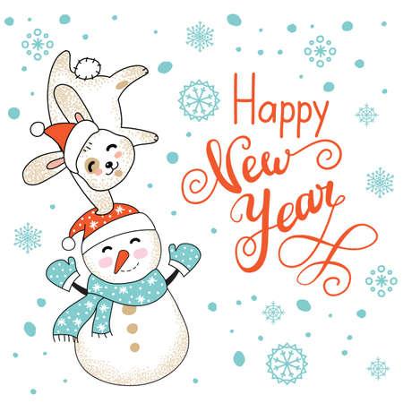 Christmas card congratulations cute rabbit and snowman Ilustração