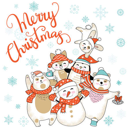 Vector Merry Christmas card with funny happy characters celebrating isolated on white background. Bear, snowman, penguin, fox. Calligraphy. For decor, design, congratulation cards, prints.