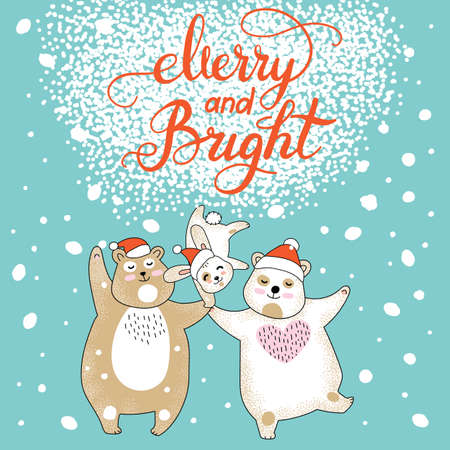 Vector Merry Christmas card with funny happy characters celebrating. Bears and rabbit in Santa hat. Merry and bright calligraphy. For decor, design, congratulation cards, prints.
