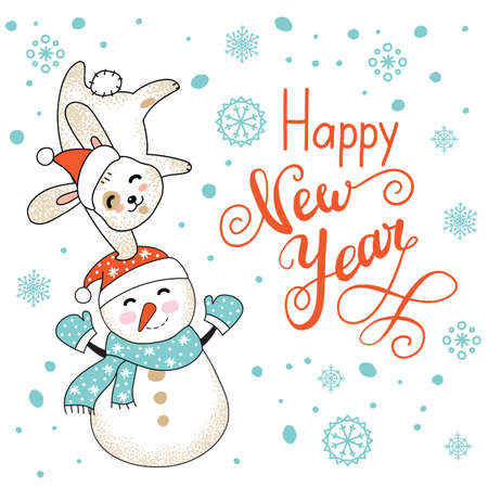 Vector Merry Christmas card with funny happy character celebrating isolated on white background. Rabbit and snowman. Happy new year calligraphy. For decor, design, congratulation cards, prints.