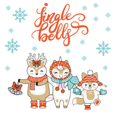 Vector Merry Christmas card with funny happy characters celebrating isolated on white background. Deer, Unicorn and Fox. Jingle bells calligraphy. For decor, design, congratulation cards, prints.