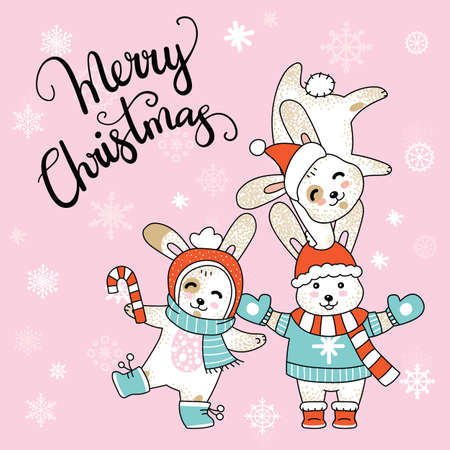 Vector Merry Christmas card with funny happy characters celebrating isolated on pink background. Deer, Unicorn and Fox. Calligraphy. For decor, design, congratulation cards, prints.