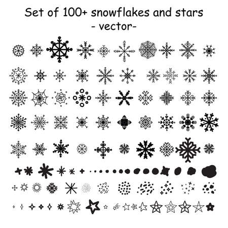 Vector big set of silhouette snowflakes and stars different shapes in black color isolated on white background. Illustration of Christmas concept. For stickers, decor, design, congratulation cards, and print.
