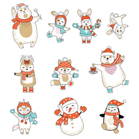 Vector set of cute animals cartoon characters isolated on white. Rabbit, bear, deer, fox, unicorn, snowman, penguin in winter clothes. Christmas concept. For stickers, decor, design, cards and print.