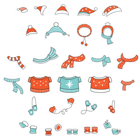Vector set of cute colorful line art Christmas clothes hat, scarf, mittens, boots isolated on white background. Illustration of Christmas concept. For stickers, decor, design, congratulation cards, and print.