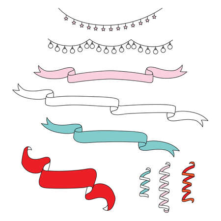 Vector set of colorful line art garlands and streamers isolated on white background. Illustration of Christmas concept. For stickers, decor, design, congratulation cards, and print. Ilustração
