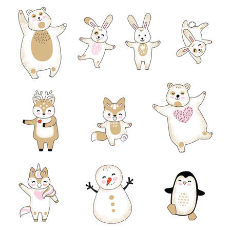 Vector set of cute animals cartoon characters isolated on white background. Rabbit, bear, deer, fox, unicorn, snowman, penguin. For stickers, decor, design, cards and prints Ilustração