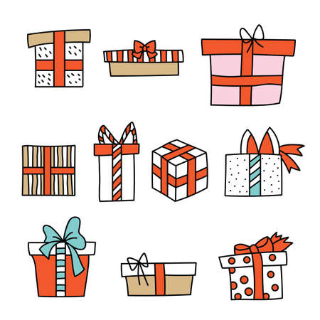 Vector set of cute colorful line art Christmas gift box isolated on white background. Illustration of Christmas concept. For stickers, decor, design, congratulation cards, and print.