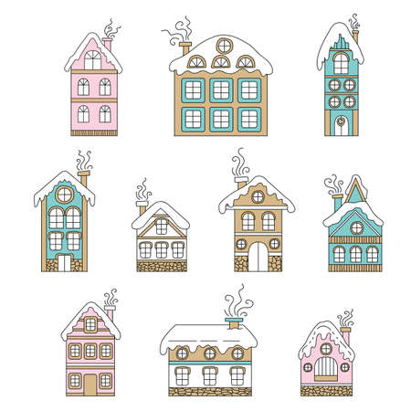 Vector set of cute colorful line art Christmas houses with roof in the snow and chimney isolated on white background. Illustration of Christmas concept. For stickers, decor, design, congratulation cards, and print. Ilustração