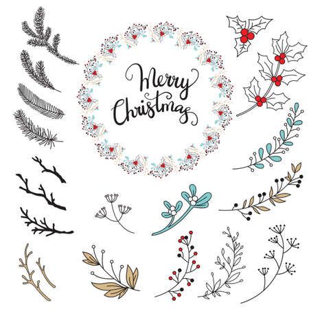 Vector set of colorful line art Christmas herbs, plants, branches and mistletoe isolated on white. Illustration of Christmas concept. For stickers, decor, design, congratulation cards, and print.