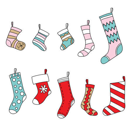 Vector set of Christmas cute colorful socks