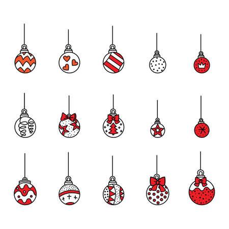Vector set of cute colorful Christmas tree ball Ilustração