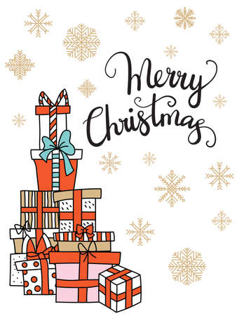 Vector illustration with Christmas presents boxes and snowflakes isolated on white background. Lettering Merry Christmas. For greeting, invitation, stickers, decor, design, congratulation cards, print.