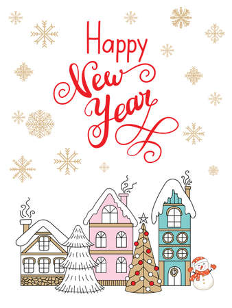Vector Christmas illustration with winter houses and snowflakes isolated on white background. Lettering happy New Year. For greeting, invitation, stickers, decor, design, congratulation cards, print