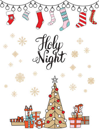 Vector Christmas illustration with socks for presents, presents and Christmas tree isolated on white. Lettering Holy Night. For greeting, invitation, stickers, decor, design, congratulation cards, print Ilustração