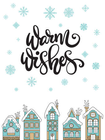 Vector Christmas illustration with winter houses and snowflakes isolated on white background. Lettering Warm Wishes. For greeting, invitation, stickers, decor, design, congratulation cards, print Ilustração