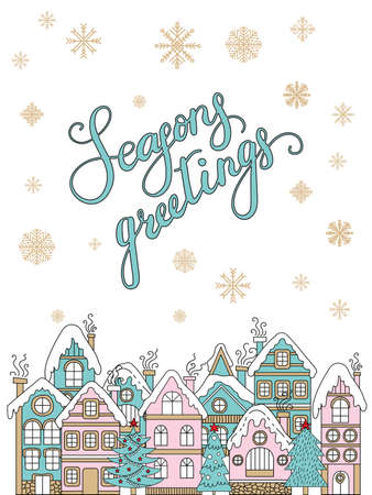 Vector Christmas illustration with winter houses and Christmas trees isolated on white background. Lettering season greetings. For greeting, invitation, stickers, decor, design, congratulation cards, print Ilustração