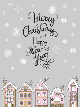 Vector Christmas illustration with winter houses isolated on gray background. Lettering Merry Christmas and Happy new year. For greeting, invitation, stickers, decor, design, congratulation cards, print