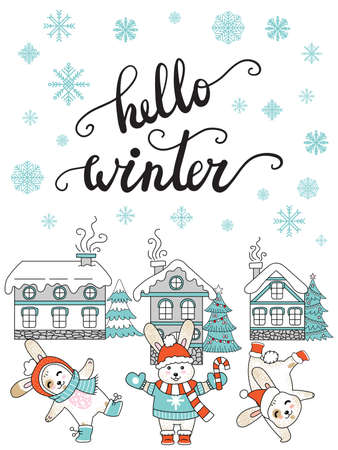 Vector Christmas illustration with winter houses, snowflakes and cute rabbits isolated on white. Lettering Hello Winter. For greeting, invitation, stickers, decor, design, congratulation cards, print Ilustração