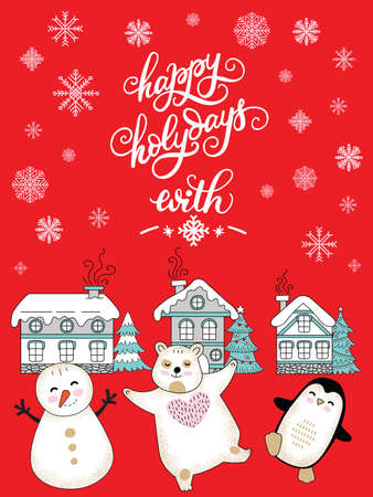 Vector Christmas illustration with houses, snowflakes, bear, penguin, snowman on red background. Lettering Happy Holidays. For greeting, invitation, stickers, decor, design congratulation cards and print