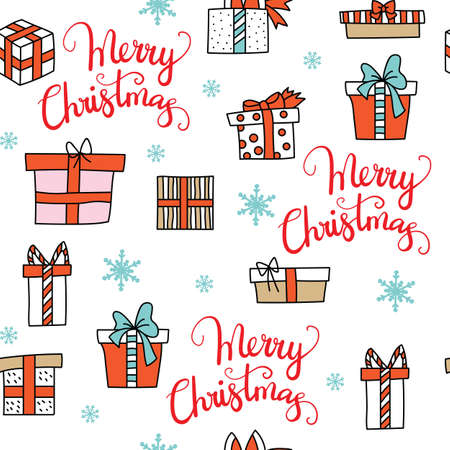 Vector seamless pattern illustration with Christmas presents boxes and snowflakes isolated on white background. Lettering Merry Christmas. For decor, design, congratulation cards, design cushion, print. Ilustração