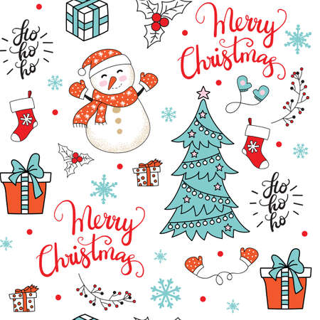 Vector seamless pattern illustration with Christmas elements and snowflakes isolated on white background. Lettering Merry Christmas. For decor, design, congratulation cards, design cushion, print.