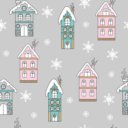 Vector seamless pattern colorful line art illustration with Christmas snowy houses and snowflakes isolated on gray background. For decor, advertising, design, congratulation cards, design cushion, print
