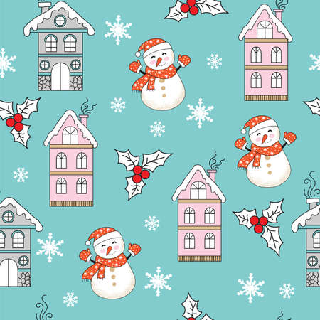 Vector seamless pattern colorful illustration with Christmas houses, snowman and snowflakes isolated on turquoise background. For decor, advertising, design, congratulation cards, design cushion, print Ilustração