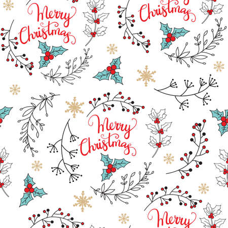 Vector seamless pattern illustration with mistletoe and Christmas plants isolated on white background. Lettering Merry Christmas.For decor, design, congratulation cards, advertising, design cushion, print Ilustração