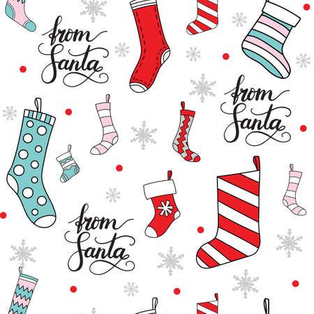 Vector seamless pattern illustration with Christmas socks for presents and snowflakes isolated on white background. Lettering From Santa. For decor, design, congratulation cards, design cushion, print. Ilustração