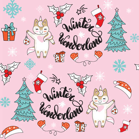 Vector seamless pattern illustration with unicorn, presents and Christmas tree and isolated on pink background. Lettering Winter Wonderland. For decor, design, congratulation cards, design cushion, print