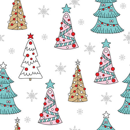 Vector seamless pattern illustration with Christmas trees and snowflakess isolated on white background. For decor, design, congratulation cards, design cushion, print. Ilustração