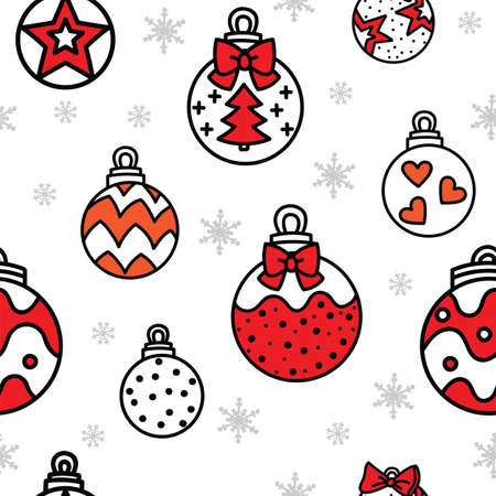 Vector seamless pattern illustration with red and white Christmas balls and snowflakess isolated on white background. For decor, design, congratulation cards, design cushion, print. Ilustração