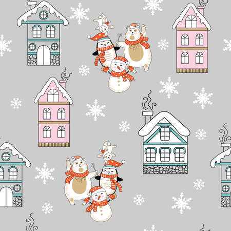 Vector seamless pattern illustration with Christmas houses, snowflakes, polar bear, snowman and penguin isolated on gray background. For decor, advertising, design, congratulation cards, design cushion, print
