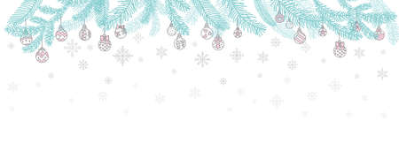 Vector colorful horizontal winter banner Christmas tree branch and Christmas balls, snowflackes isolated on white background. For decor, design, congratulation cards, print, business, label, corporate