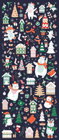 Big Christmas set with traditional Christmas symbols, characters and decorative elements. Vector colorful vertical banner, poster.For decor, design, congratulation cards, print, business, label, corporate 矢量图像